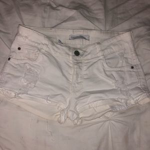 Zara white jean shorts